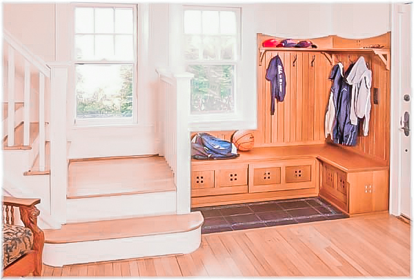 Westchester custom design built mudroom craftsman style cabinetry