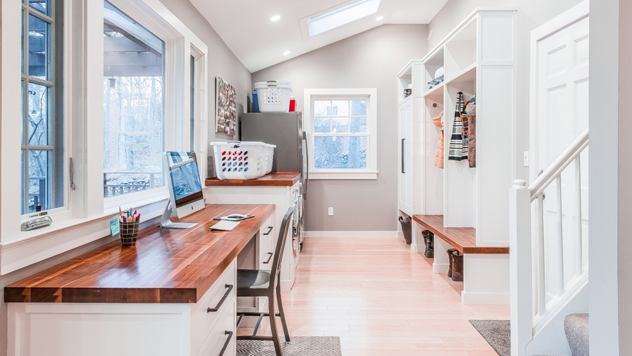 Westchester laundry room mudroom home office interior design