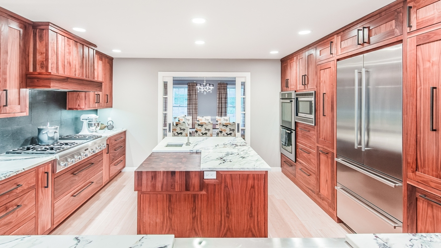 Westchester modern contemporary kitchen peninsula custom design cabinetry