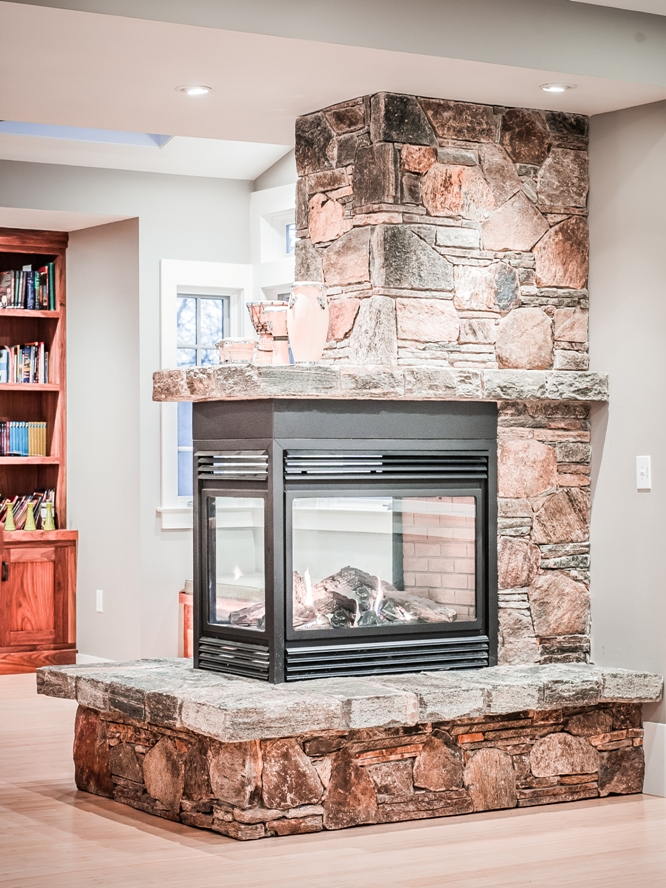 Westchester custom stone gas fireplace mason contractor