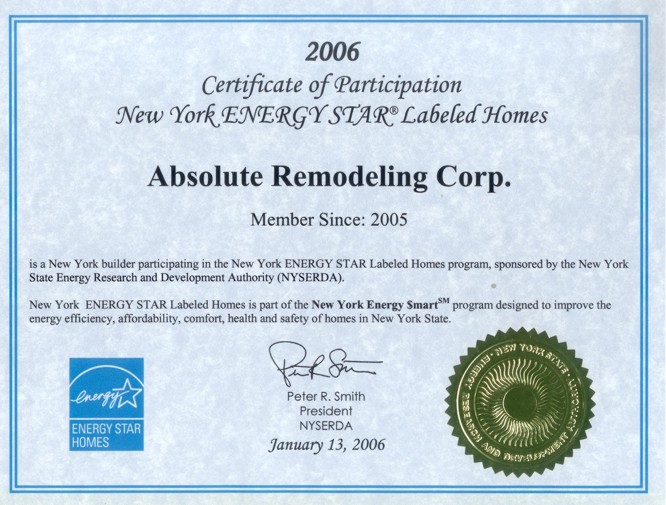 Absolute Green Homes Westchester NY Energy Star Certificate