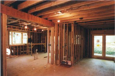 French Doors, Bay Window, Framing, Plumbing, Radiant Heat Floors & Electrical Completed
