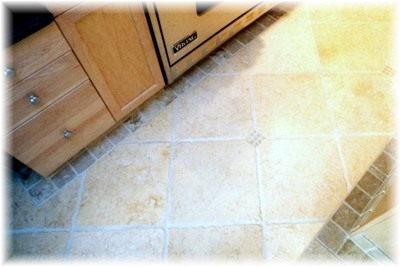 "Honed marble 16"" floor tiles with 4"" perimeter border, insert accent tile ""cube"""
