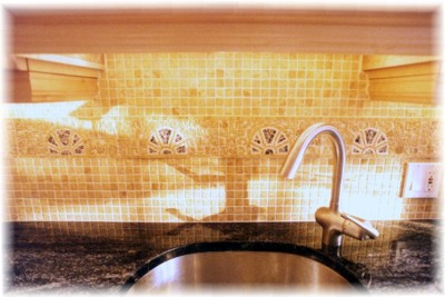 Elkay undermount sink, Grohe pull-out faucet, fancy tiled backsplash...
