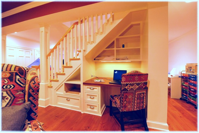 Custom basement office under the stairs design ideas pictures, Westchester NY