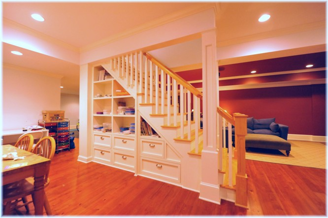 Custom design built-in storage under the basement stairs design ideas pictures Westchester NY