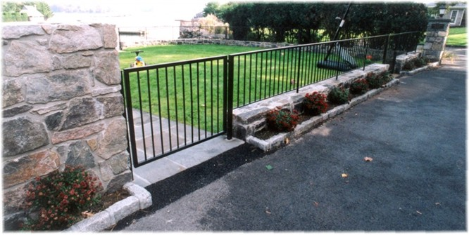 Patio stone wall wrought iron railing fence contractor