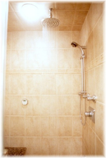 Steam Shower With Overhead, Oversize Shower Head