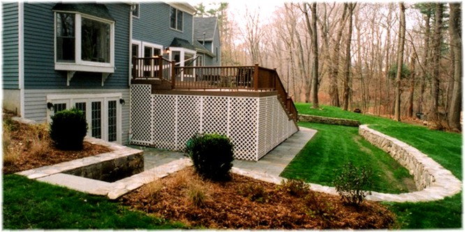 composite deck, flagstone patio retaining masonry wall contractor, Westchester