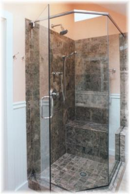 Custom Marble Shower with Built-in Bench; Frameless Door & Glass