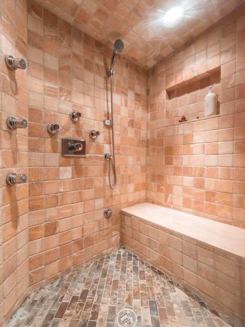 Fully custom basement steam tile shower design architect builder contractor