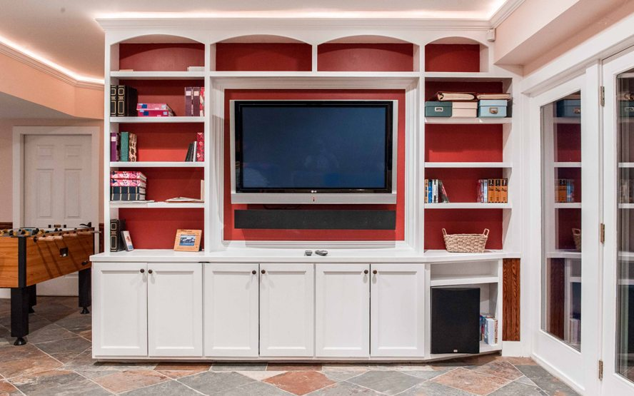 Custom design basement tv built-in architect builder contractor